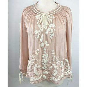 Lucky Brand Embroidered Peasant Top Floral prairie